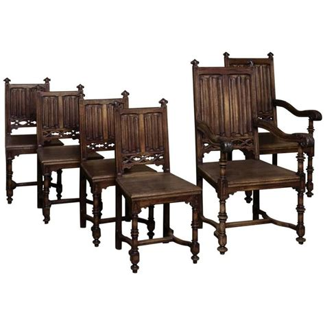 set of six 19th century french gothic dining chairs for