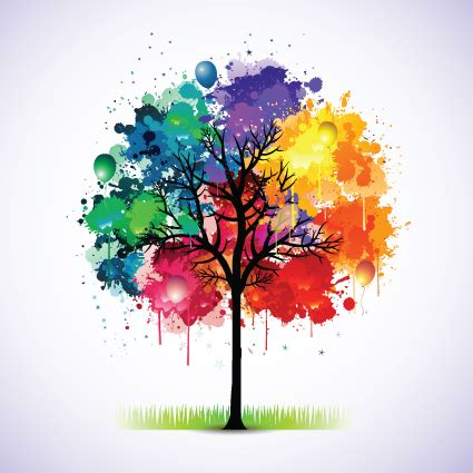 colorful tree creative colorful tree design elements vector 01 vector