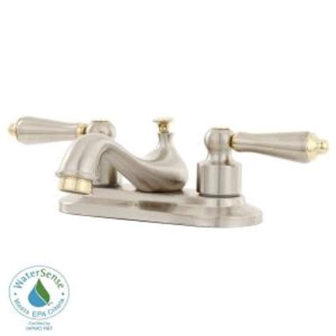 Glacier Bay Teapot Faucet by Glacier Bay Teapot 4 In 2 Handle Low Arc Bathroom Faucet In Brushed Nickel Polished Brass 67092