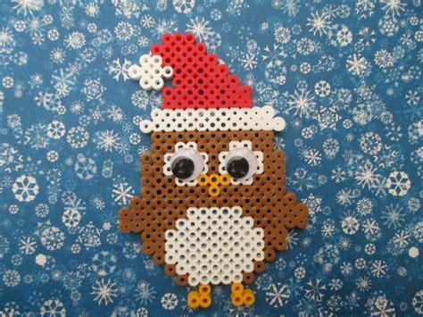 owl pony bead pattern perler bead santa owl tutorial perler melted