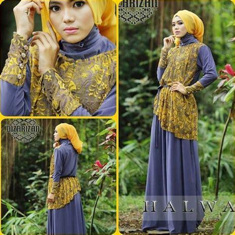 Ukhti Gamis U 42 baju muslim gaya ready halwa purple mustard by dizarizan