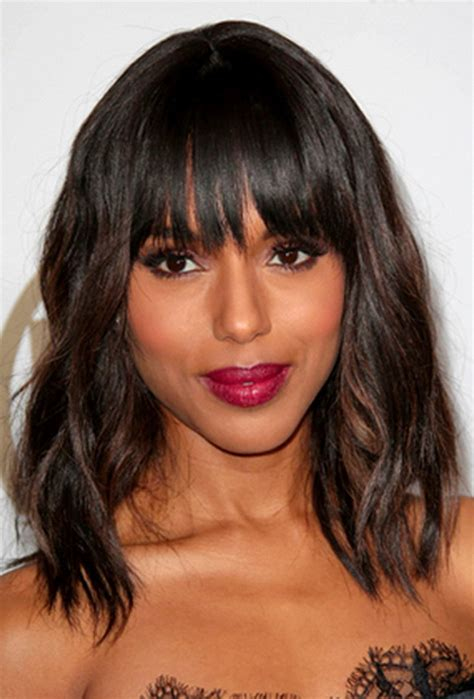 midi length with blunt fringe mid length hairstyles with bangs