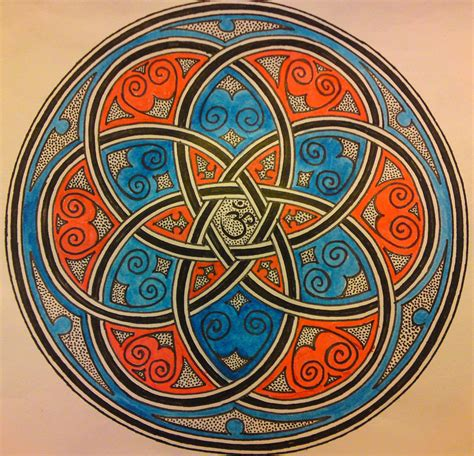 celtic mandala media pen and watercolor while