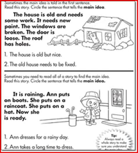 main idea printable worksheets for first grade posters
