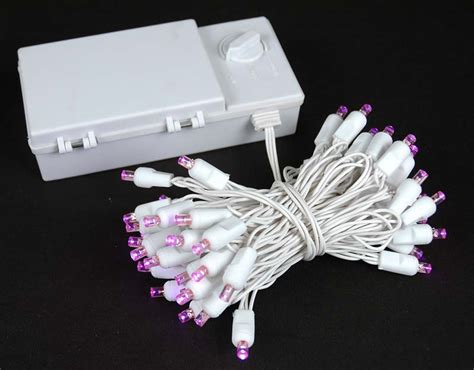 50 led battery operated christmas lights pink on white