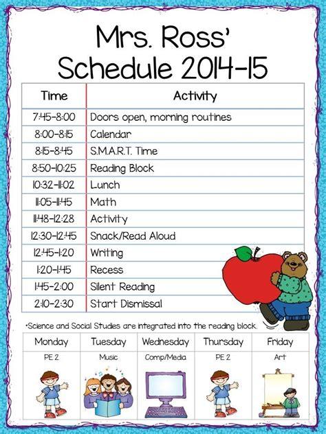 Elementary School Schedule Template Listmachinepro Com Elementary School Class Schedule Template