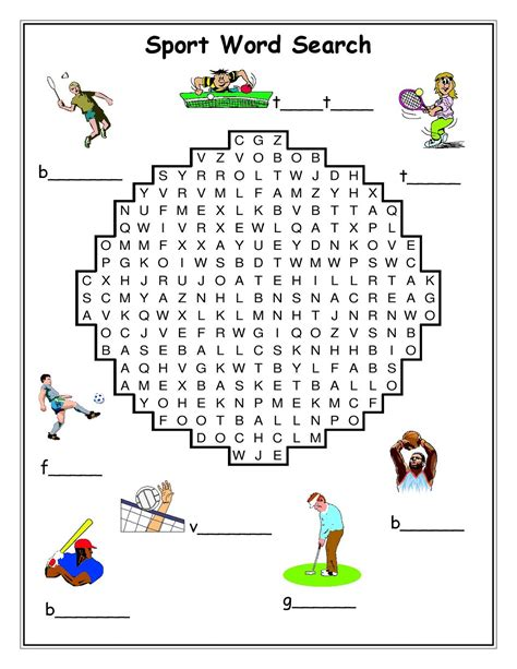 printable word search about sports sport word searches to print activity shelter
