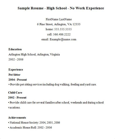 resume templates for no work experience high school resume 9 free sles exles format