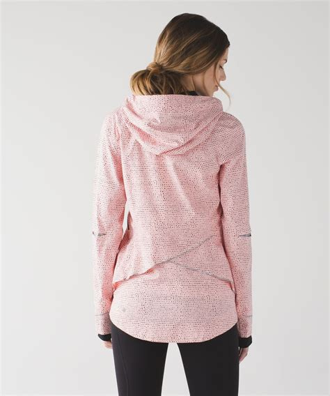 dot pattern jacket lululemon runaway jacket speckle dot parfait pink black