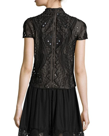 Mock Neck Embroidered Top viktoria embroidered mock neck top tamia