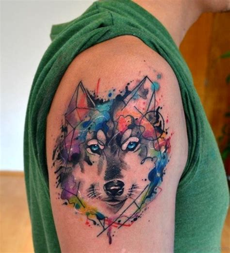 watercolor wolf tattoo 51 wolf tattoos on shoulder