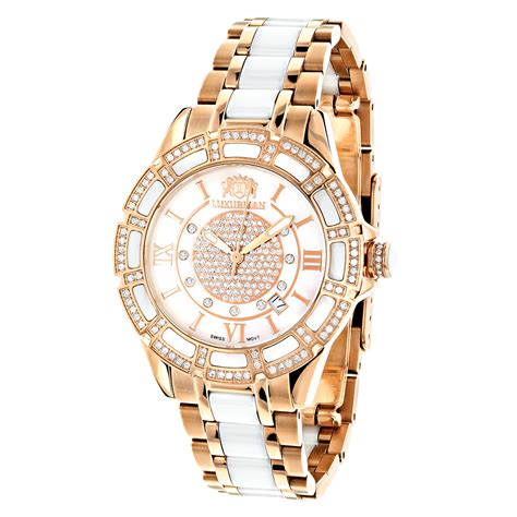 womens ceramic watches gold two tone white