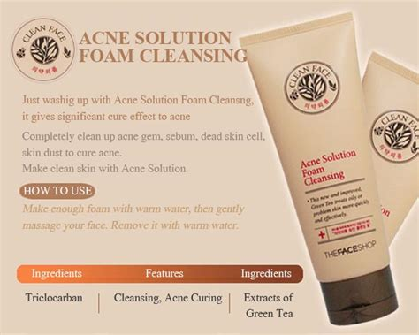 The Shop Clean Acne Solution Foaming Cleanser 150ml sữa rửa mặt ngăn dầu v 224 trị mụn clean acne solution foam cleansing thefaceshop360