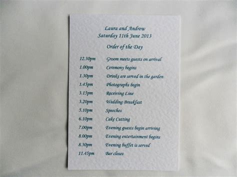 Wedding Order of Day Card on White Card,  (more) Wedding