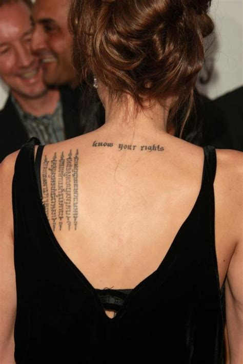 angelina jolie tattoo on chest angelina jolie enormous tiger tattoo and things written