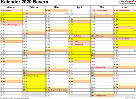 Kalender 2021 Bayern Kalender 2020 Bayern Ferien Feiertage Excel Vorlagen