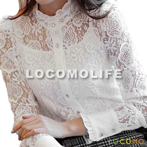 Flower White Top White Lace Blouses Fashion Ql