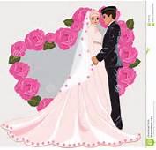 Muslim Wedding Cartoon Romance Dress Face Couple Gown Bride Marriage