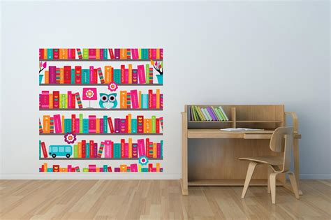 wall decor for library wall art sticker decal full colour book case shelves owl