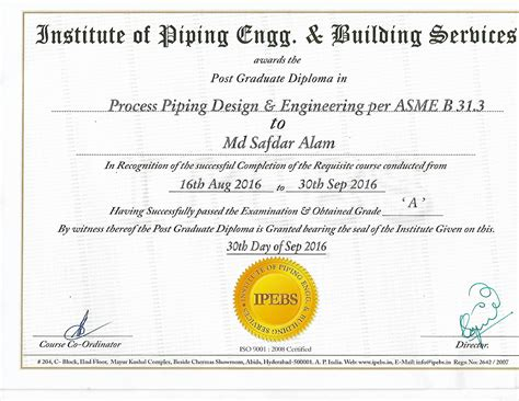 Piping Design Certificate Hccs | md safdar alam bayt com