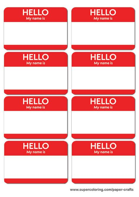 Red Name Badges Printable Template Free Printable Papercraft Templates Name Badge Template Word