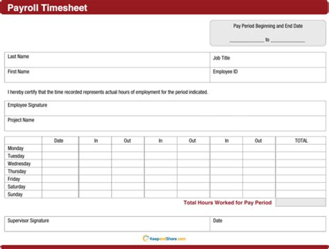 download payroll timesheet template for free formtemplate