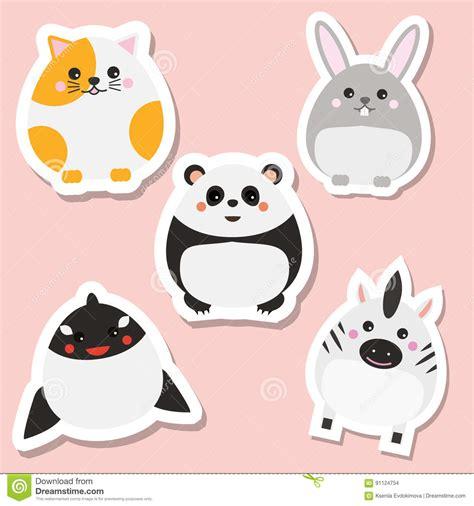 cute animals in boats kids design elements set stock cute kawaii animals stickers set vector illustration cat