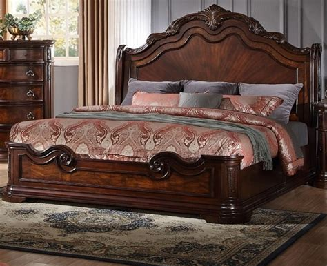 bedroom king sets new formal cal king size bed set 1pc traditional walnut
