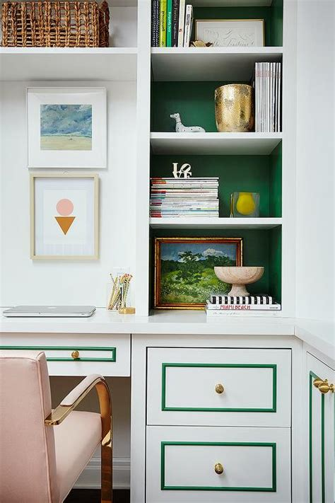 Green Painted Home Office Walls Design Ideas How To Paint A Bookcase White