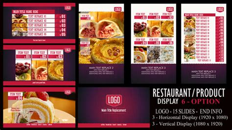 template after effects restaurant digital signage restaurant product displays after