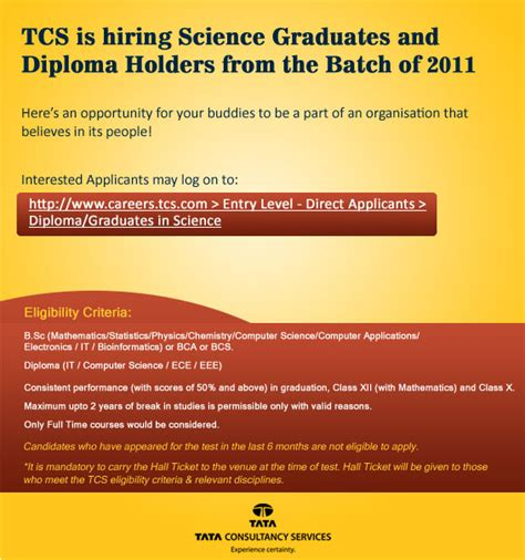 Mba After 2 Years Work Experience In Tcs by Tcs Cus Recruitmnet For Freshers 2011 Science Grduates