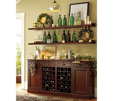 wine buffet bar modular bar buffet with 2 wine bases 2 cabinets pottery barn for the home