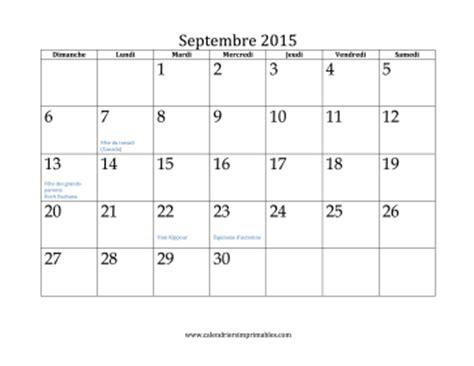Calendrier à Imprimer Septembre 2015 Calendrier Pour Septembre 2015