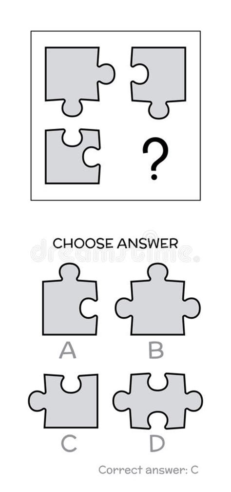 printable simple iq test iq test logical tasks composed of puzzles shapes stock