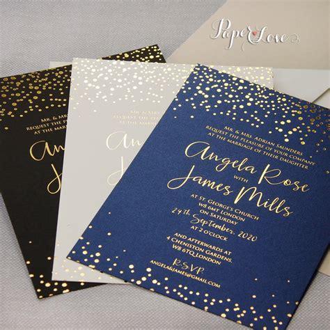 foil sted wedding invites navy blue gold foil confetti wedding invitation