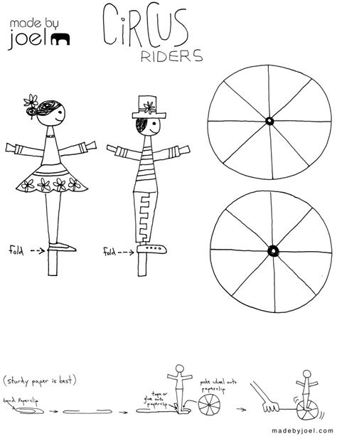 Made By Joel 187 Paper Circus Rider Toy Printable Craft Templates