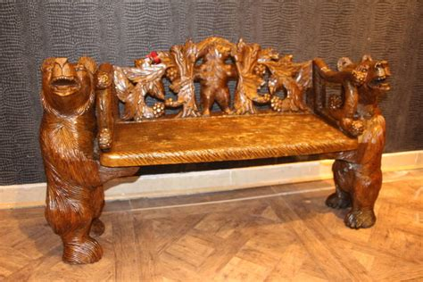 bears bench black forest carved bears bench for sale at 1stdibs