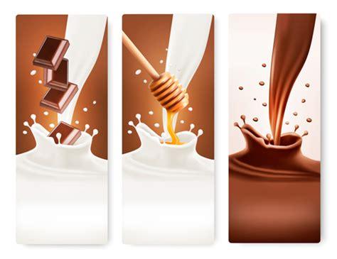 milk design vector splash milk and chocolate vector banner 03 vector banner