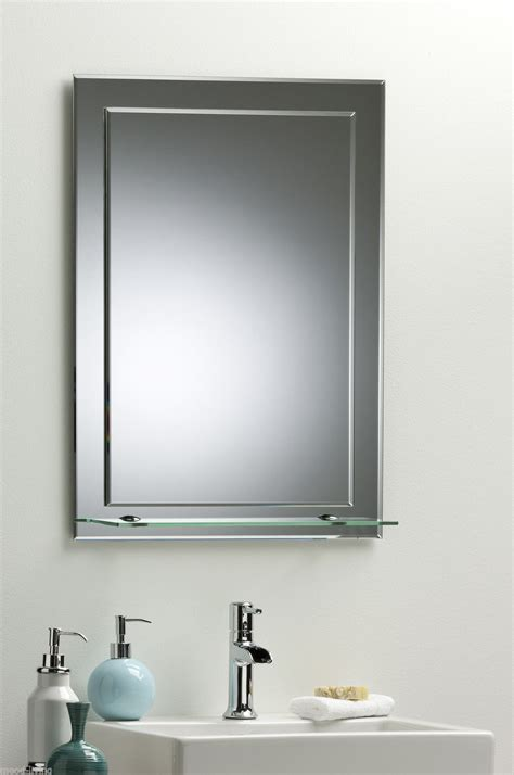 Bathroom Mirror On Mirror Elegant Rectangular With Shelf Mirror Shelves Bathroom