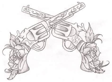 crossed revolvers tattoo gun images designs