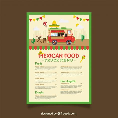 food truck menu template food truck menu template wit mexican food vector free
