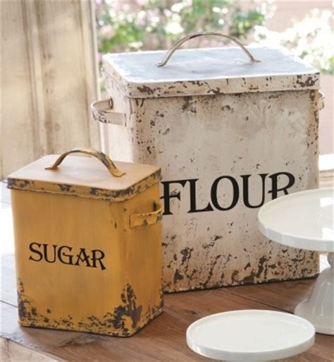 set 2 vintage style metal flour sugar canister farmhouse country kitchen bins ebay home
