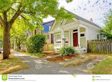 american small house small cute craftsman american house stock photography