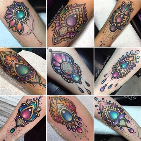 jewel tattoos really these this look maybe flowers all