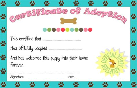 puppy adoption certificate pet printables quotes