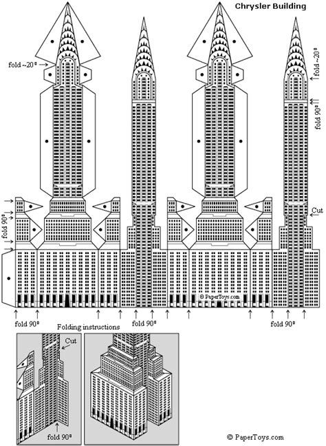 chrysler building paper model free paper toys and models