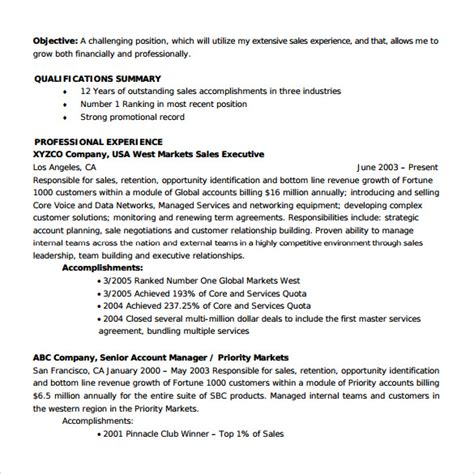 account manager resume exle sle account manager resume 12 free