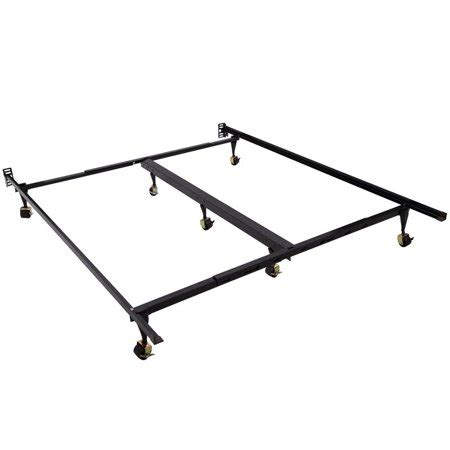 homcom 7 leg adjustable metal bed frame w rollers fits king walmart