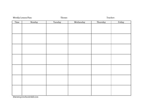 monthly lesson plan template search results for weekly editable lesson plan template