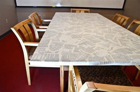 how to cover an table in book pages